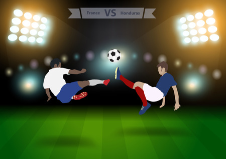 football players: Two football players in jump to strike the ball at the stadium, Soccer players france versus honduras, Brazil 2014 group E Vector illustration modern design template