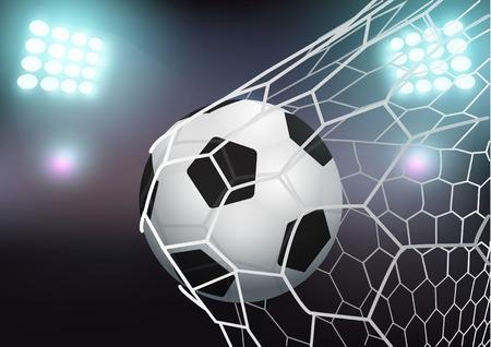 football net: Soccer ball in the goal net on stadium with light, Vector illustration modern design template