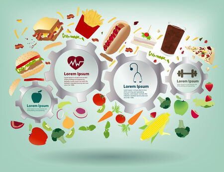 Creative gear info graphic elements, Healthy food concept idea fruits and vegetables with fast food, Modern design template workflow layout, diagram, step up options, Vector illustration Vector