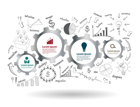 歯車および歯車をビジネス成功戦略計画のアイデア、インスピレーションの概念モダンなデザイン テンプレート ワークフロー レイアウト、図、描