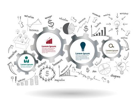 Tandwielen en radertjes met tekening zakelijk succes strategieplan idee, Inspiratie concept van modern design template workflow layout, diagram, intensiveren opties, Vector illustratie Stock Illustratie