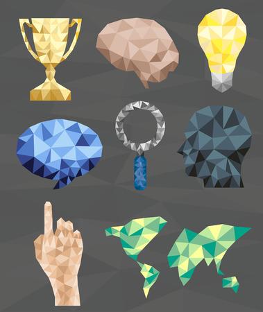 touching hands: Polygonal geometric figures  Set of design elements, Vector illustration modern design template