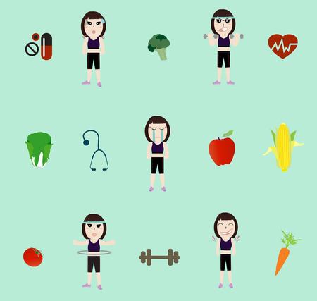 Vector fitness woman and diet Vector