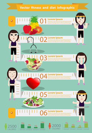 Vector fitness woman and diet info graphics, Modern design template workflow layout, diagram, step up options, Vector illustration template design 向量圖像