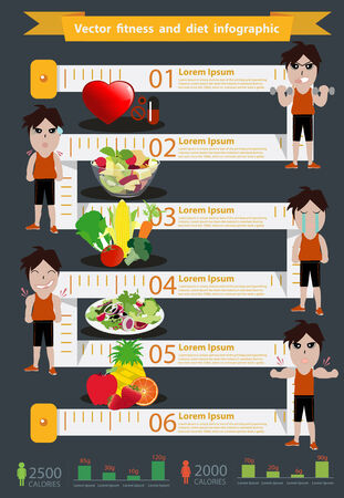 Vector fitness man and diet info graphics, Modern design template workflow layout, diagram, step up options, Vector illustration template design Vector