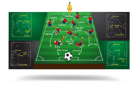 blackboard cartoon: Spanish national team soccer football player in different positions, Soccer field background, Soccer plan, Modern infographics design template, layout, banner, diagram, options, Vector illustration Illustration