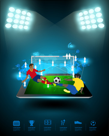 soccer fans: Football player striking the ball at the stadium, Technology communication, Creative virtual networking information process diagram connection on tablet computer, Vector illustration modern template