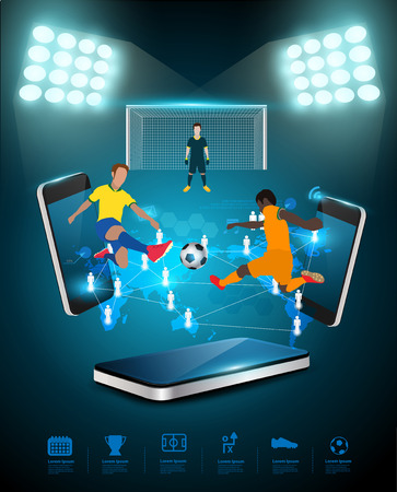 soccer fans: Football player striking the ball at the stadium, Technology communication, Creative virtual networking information process diagram connection on mobile phones, Vector illustration modern template