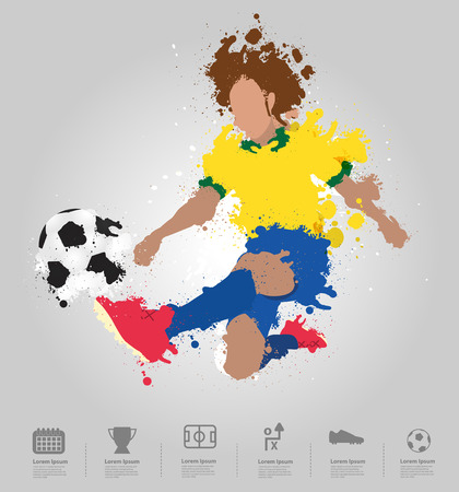 Soccer player kicks the ball with paint splatter design   Vector