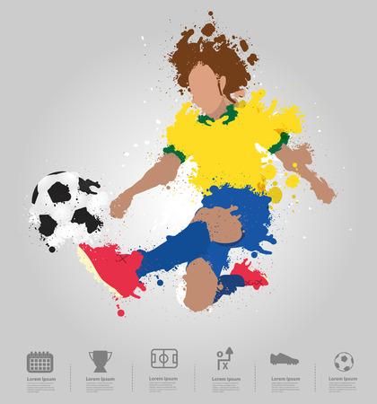Soccer player kicks the ball with paint splatter design   Vector