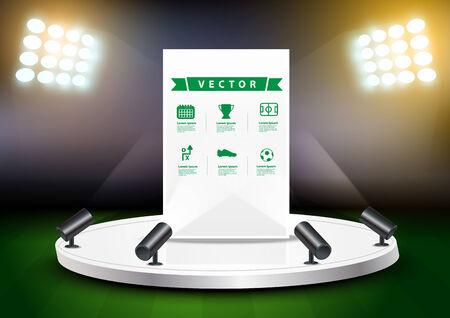 expositor: Estadio de fútbol con el soporte de la exposición etapa