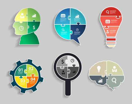 puzzle pieces: Infographic template with Head, Speech bubble, Light bulbs, Gear wheel, Magnifier, Brain, Jigsaw banner concept
