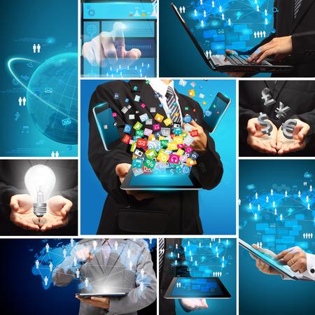 소셜 미디어 비즈니스 혁신 기술 개념 설계, 크리 에이 티브 통신 가상 네트워킹 정보 데이터 처리도 현대적인 디자인 레이아웃 템플릿