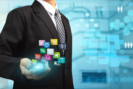 corporate social: Mobile phones technology business idea concept, Business man using mobile smart phone creative modern networking colorful application icons information process diagram Stock Photo