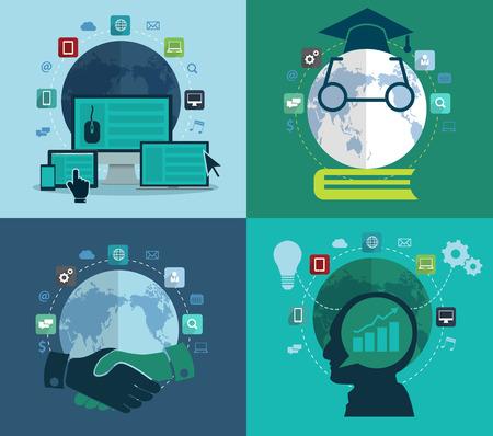globális üzleti: Állítsa lapos tervezési koncepció ikon web, szociális háló, oktatás, befektetés, globális üzleti, absztrakt infographic modern design sablon munkafolyamat hirdetési elrendezést, rajz, vektoros illusztráció