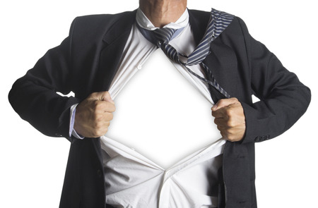 alter ego: Businessman showing a superhero suit underneath his suit, isolated on white background Stock Photo