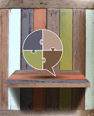 Empty wood shelf on wall Vector