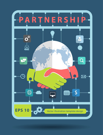 business partner: Partnership idea concept with business icons, Creative plastic model kits set, info graphic layout banner, diagram, step up options, Vector illustration modern template design