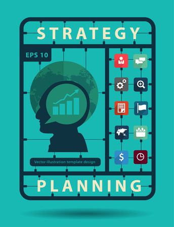 social network service: Strategy planning idea concept with business flat icons, Creative plastic model kits set, info graphic layout banner, diagram, step up options, Vector illustration modern template design