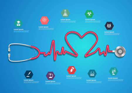 Heart beat line of stethoscope with trendy science icons, Info graphics banner modern design template workflow layout, diagram, step up options, Vector illustration