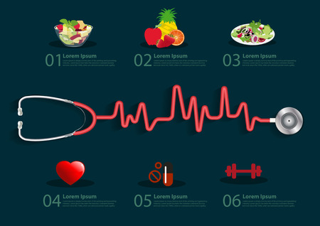 red stethoscope: Stethoscope with a heart beat, Info graphics banner modern design template workflow layout, diagram, step up options, Vector illustration