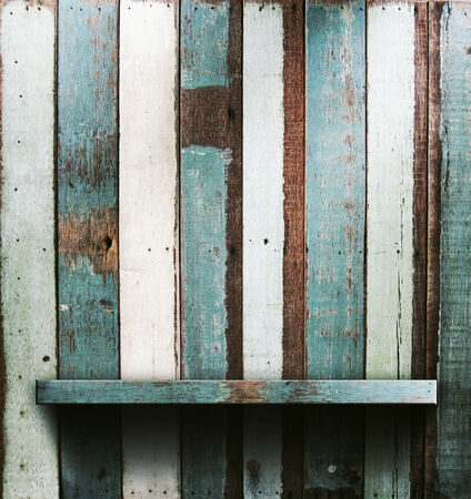 Wooden shelves, grunge industrial interior Uneven diffuse lighting version. Design component photo