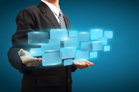 Businessman holding digital vurtual screen