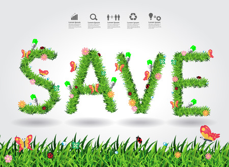 energy conservation: Save energy conservation concept with green grass alphabet letters design, Vector illustration modern design template Illustration