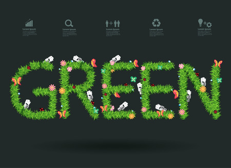 Ecology think green idea concept with green grass alphabet letters design, Vector illustration modern design template Vector