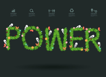 water recycling: Power eco concept with green grass alphabet letters design, Vector illustration modern design template