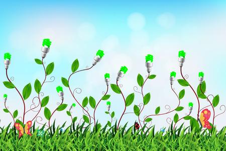 branch to grow up: Bombilla creativa con un �rbol que crece en el interior en ambiente de campo o el concepto de fondo de la energ�a, ilustraci�n vectorial moderna plantilla de dise�o