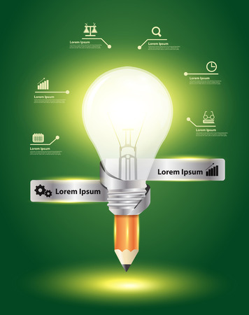 market research: Idea pencil and light bulb creative leadership concept, Inspiration concept modern design template workflow layout, diagram, step up options, Vector illustration Illustration