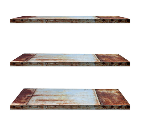 Industry style shelves made of steel, isolated on white background objects with clipping paths for design work photo