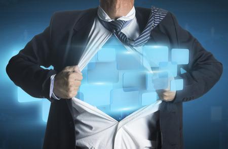 creative strength: Businessman showing a superhero suit underneath modern interface buttons