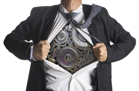 terminator: Businessman showing a superhero suit underneath machinery metal gears idea concept, isolated on white background