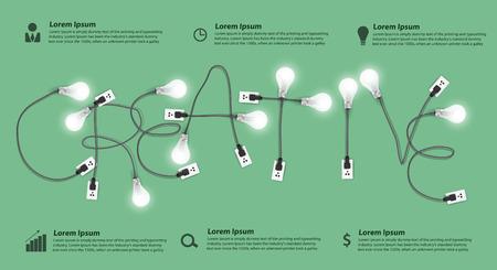 창의적인 개념 현대적인 디자인 템플릿, 전구 아이디어 추상적 인 정보를 그래픽 워크 플로우 레이아웃 배너, 다이어그램, 옵션을 단계, 벡터 일러스트 일러스트