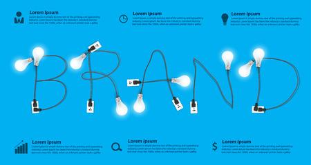 Concepto de marca, Creative idea bombilla información abstracta diseño gráfico bandera, diagrama, intensificar opciones, ilustración vectorial moderna plantilla de diseño