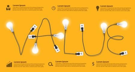 コンセプト モダンなデザイン テンプレート、創造的な電球アイデア抽象情報グラフィック バナー ワークフロー レイアウト、図の値、オプションの  イラスト・ベクター素材