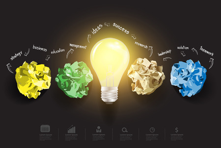 Inspiration concept creative light bulb with crumpled colourful paper great idea, With business icons set info graphic banner layout, diagram, step up options, Vector illustration modern design  Vector