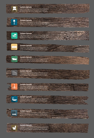 pieces of furniture: Vector wood texture background, With furniture flat icons home decoration layout banner, diagram, step up options design