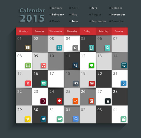 Calendar 2015, Modern business flat icons set abstract info graphic design banner template workflow layout, diagram, step up options, Vector illustration Vector