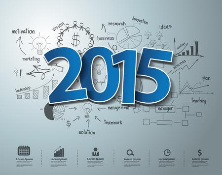 Blauwe labels label 2015 tekstontwerp op creatieve tekening zakelijk succes strategieplan ideeën concept, Inspiration begrip modern design template lay-out, diagram, intensiveren opties, Vector illustratie