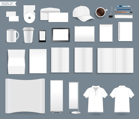 advertise: Corporate identity templates, With blank name card, envelope, mugs, mobile phone, tablet, calendar, notebook paper, folded paper, open book, exhibition banners stands, polo shirt, Vector illustration
