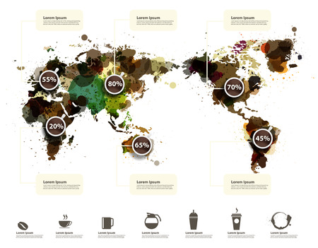 World Map of coffee ink splatter, With coffee icons abstract infographic workflow layout, diagram, step up options, Vector illustration template design
