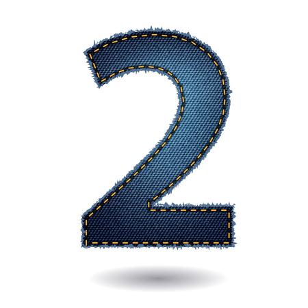 number 2: Jeans alphabet letters number 2, Vector illustration modern template design Illustration