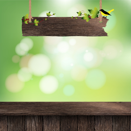 outdoor furniture: Wooden deck table with hanging wooden sign on foliage bokeh background Illustration