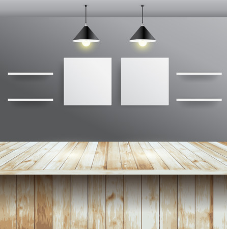 Wood table with wall room interior design Vector
