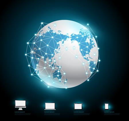 zeměkoule: Globe připojení návrh sítě, vektorové ilustrace moderní šablony Ilustrace
