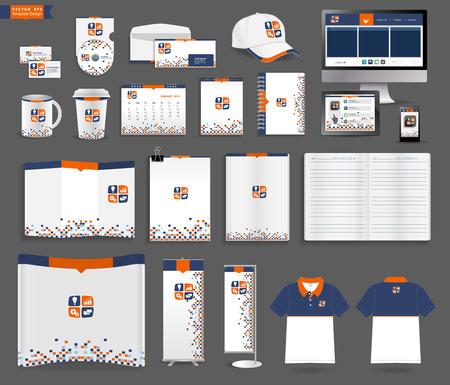 papírnictví: Šablony Corporate Identity, s prázdnou vizitku, obálka, džbánky, mobilní telefon, tablet, kalendář, poznámkový papír, skládaný papír, otevřené knihy, výstavní plakáty stojí, košile s krátkým rukávem, vektorové ilustrace Ilustrace