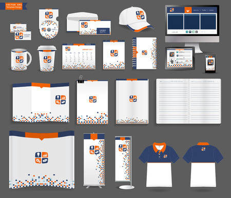 exhibitions: Corporate identity templates, With blank name card, envelope, mugs, mobile phone, tablet, calendar, notebook paper, folded paper, open book, exhibition banners stands, polo shirt, Vector illustration